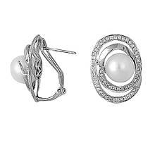 Сережки з білого золота з діамантами і перлами (прісноводними) (019790)