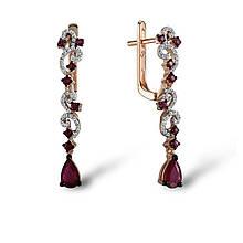 Серьги из красного золота с бриллиантами и рубинами (1552226)