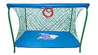 Манеж детский игровой с крупной сеткой KinderBox Темно-голубой  КОД: (km 5518)