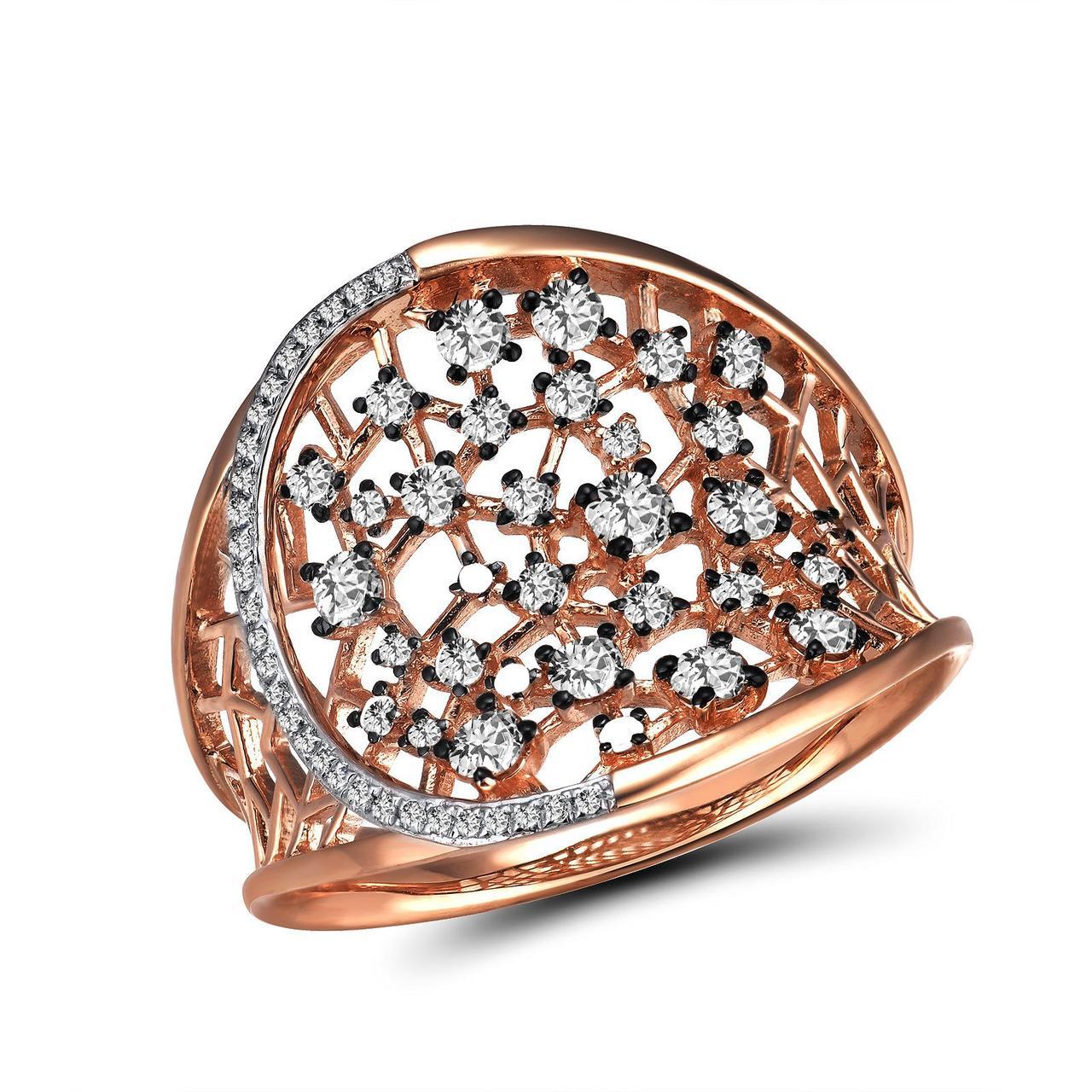 Золотое кольцо с бриллиантами, размер 18 (1694189)