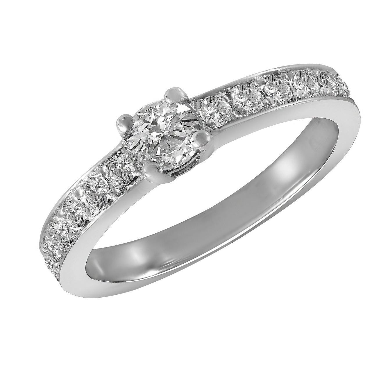 Золотое кольцо с бриллиантами, размер 15 (1680828)