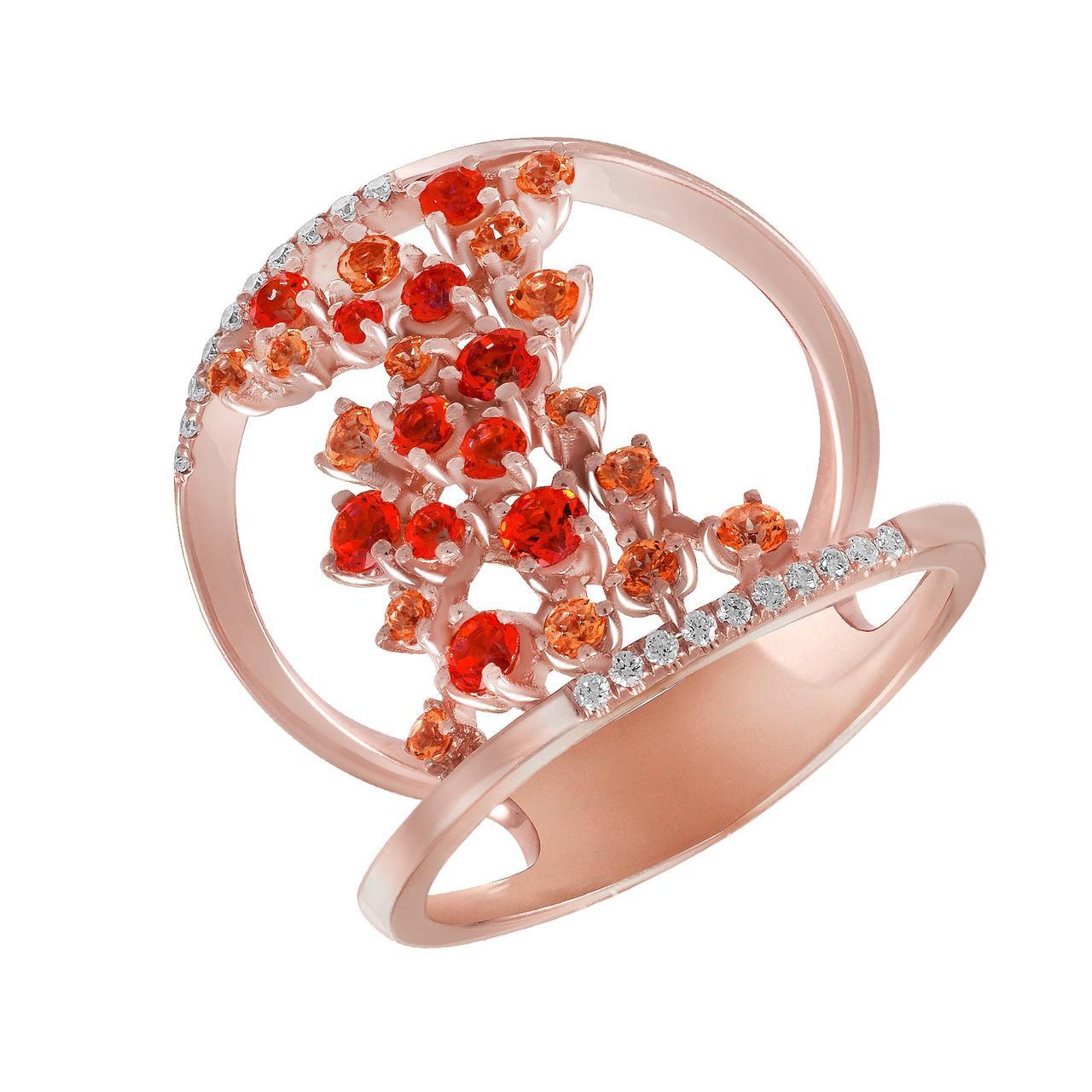 Золотое кольцо с бриллиантами и топазами, размер 17.5 (308029)