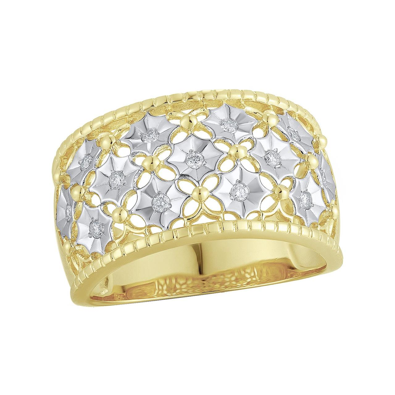 Золотое кольцо с бриллиантами, размер 18.5 (813728)