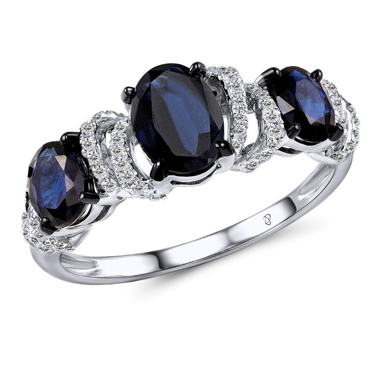 Золотое кольцо с бриллиантами и сапфирами, размер 16.5 (1553154)
