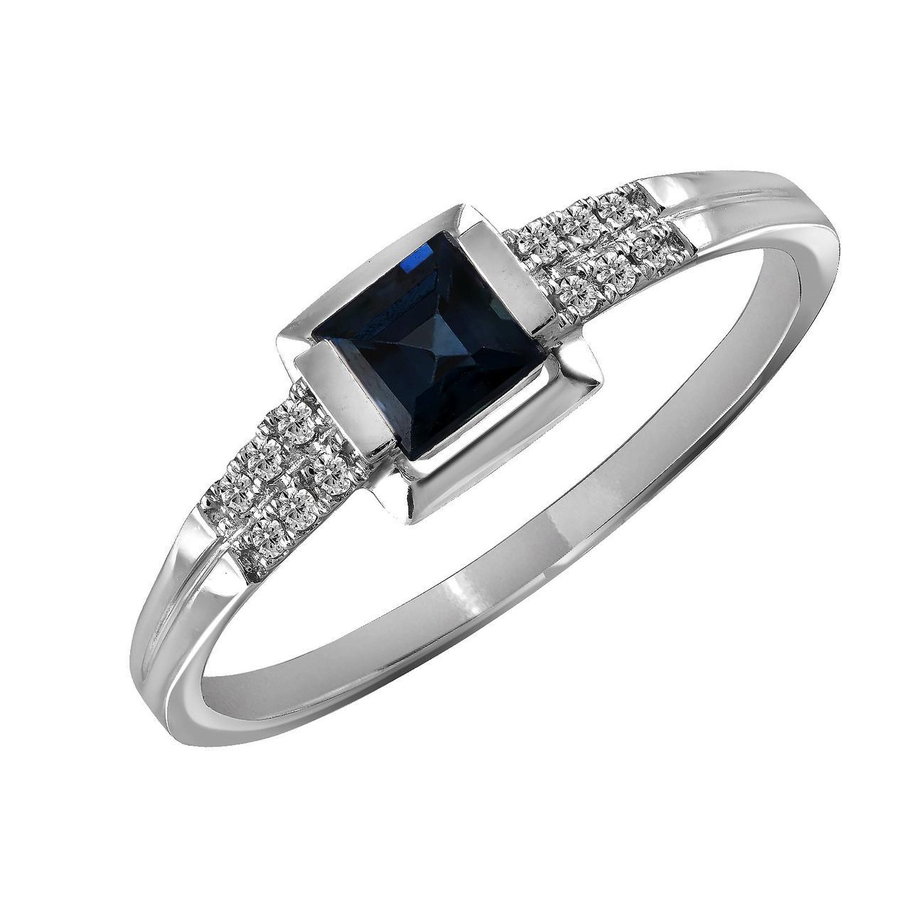 Золотое кольцо с бриллиантами и сапфиром, размер 16.5 (817317)