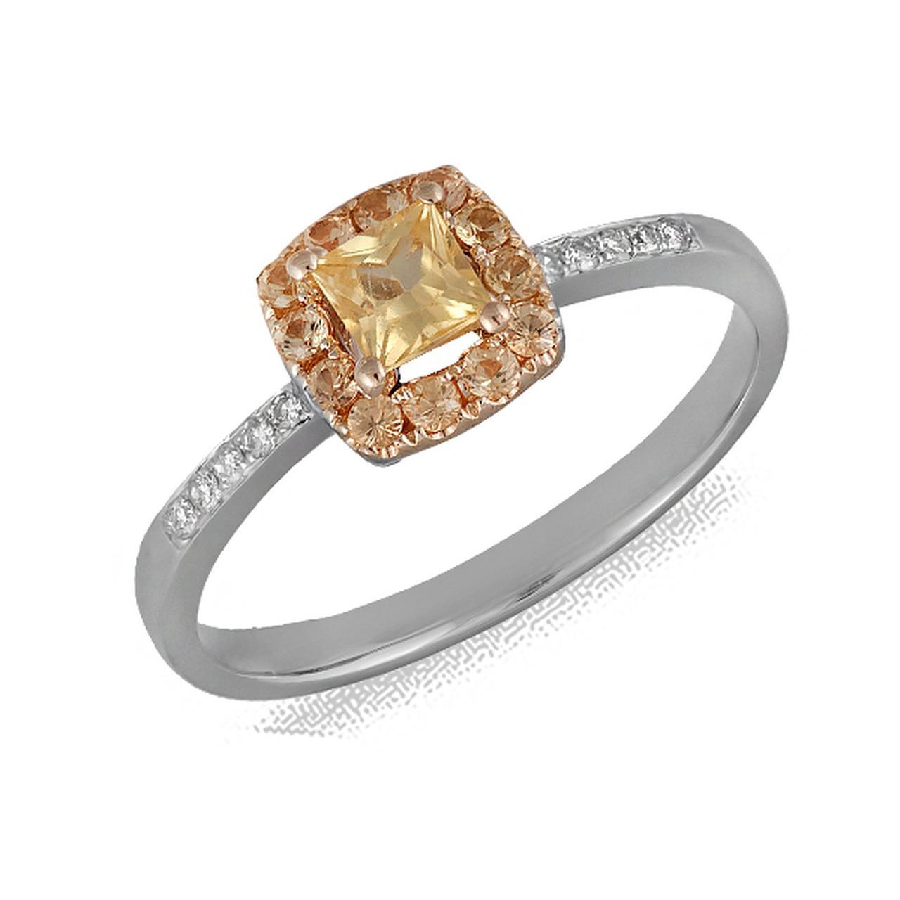 Золотое кольцо с бриллиантами и сапфирами, размер 18 (075742)