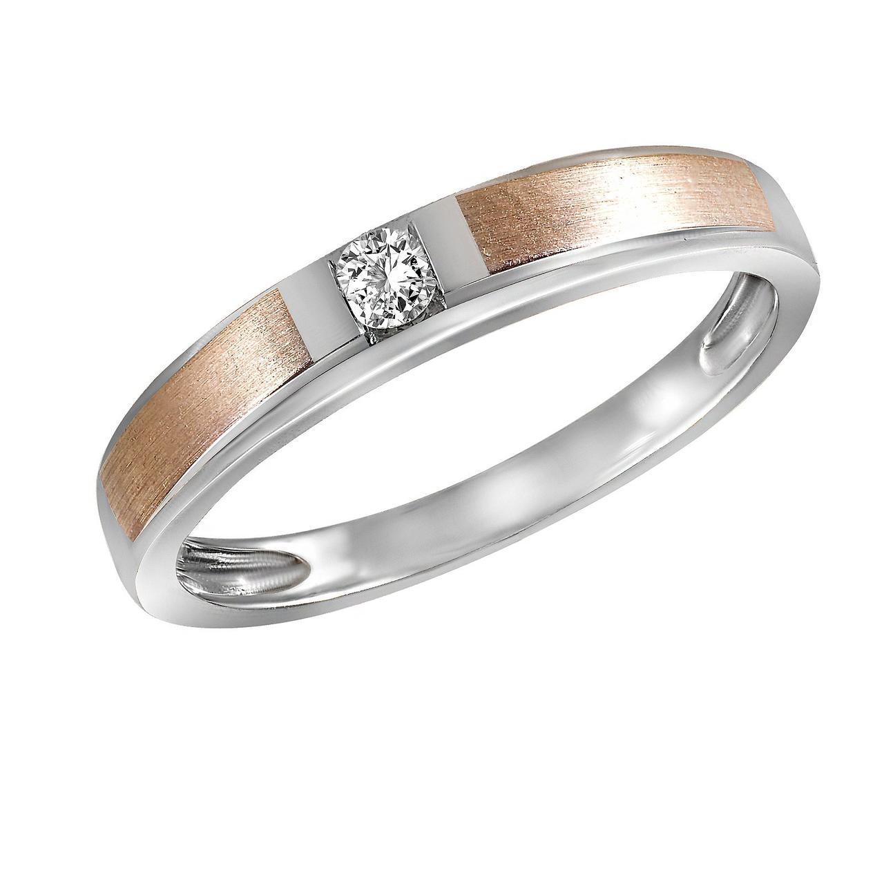 Золотое кольцо с бриллиантом, размер 16 (1663028)