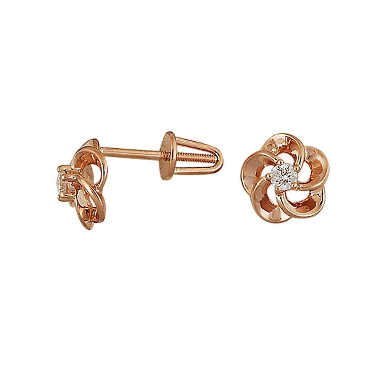 Серьги из красного золота с бриллиантами (008982)