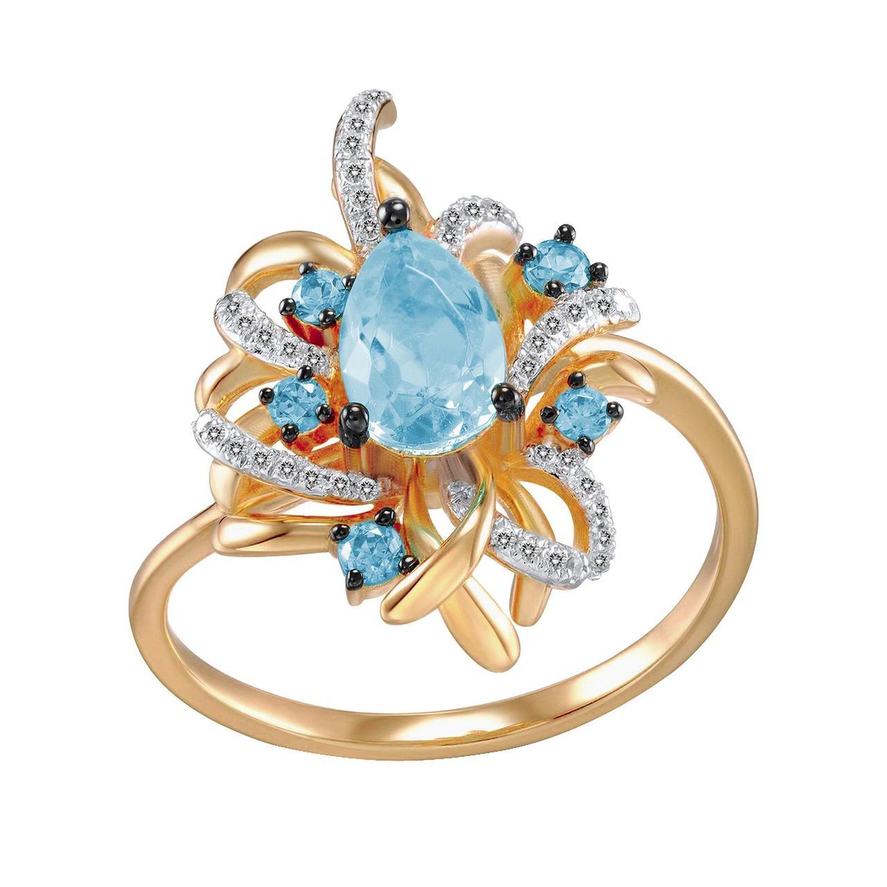 Золотое кольцо с бриллиантами и топазами, размер 17 (1696111)