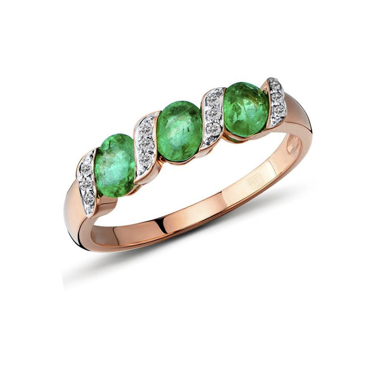 Золотое кольцо с бриллиантами и изумрудами, размер 16 (1551309)