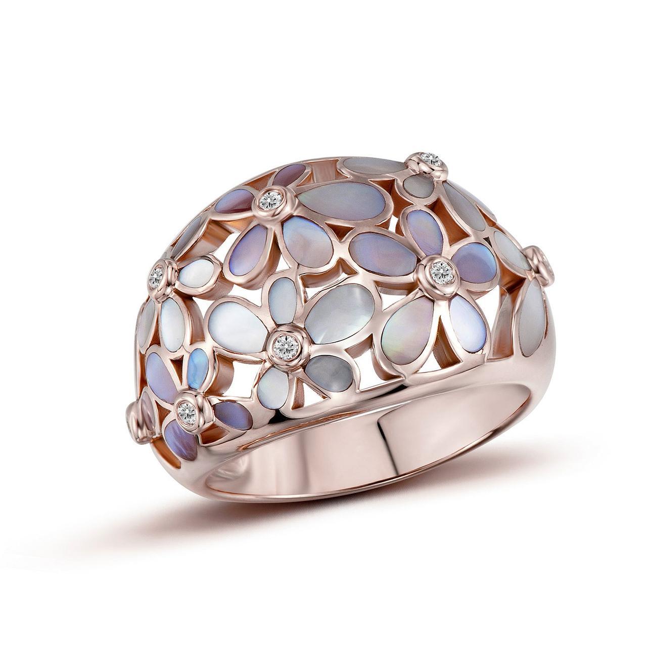 Золотое кольцо с бриллиантами и перламутром, размер 17 (1603548)