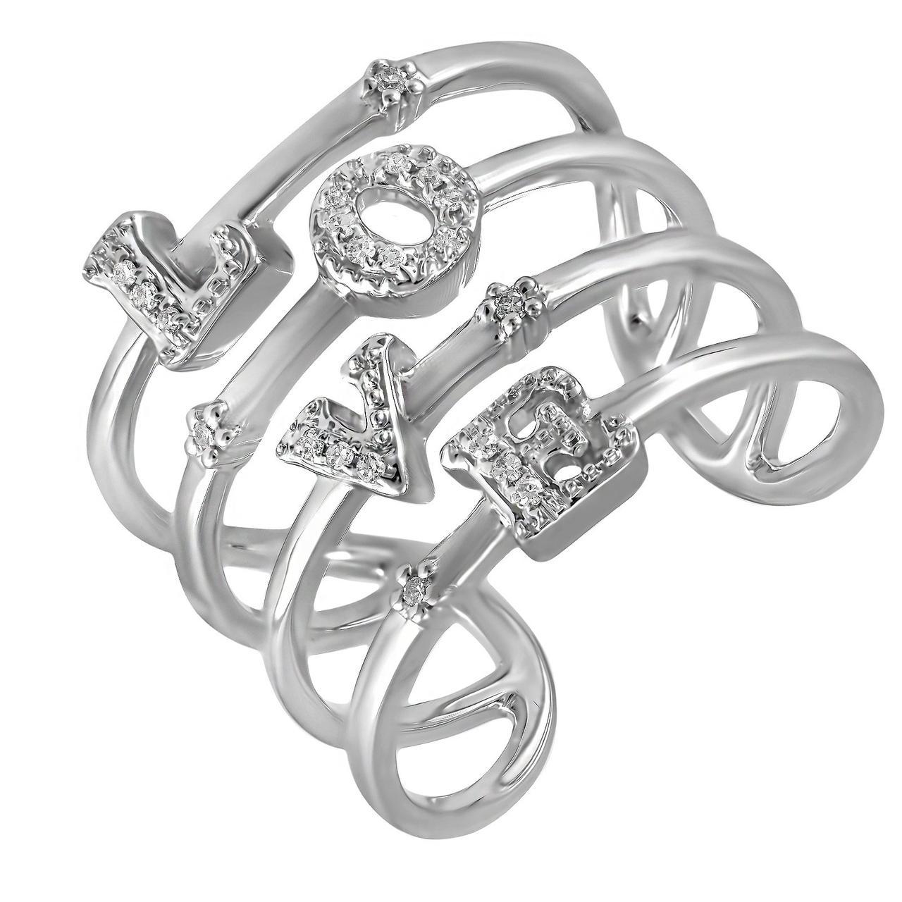 Золотое кольцо с бриллиантами, размер 16.5 (201356)