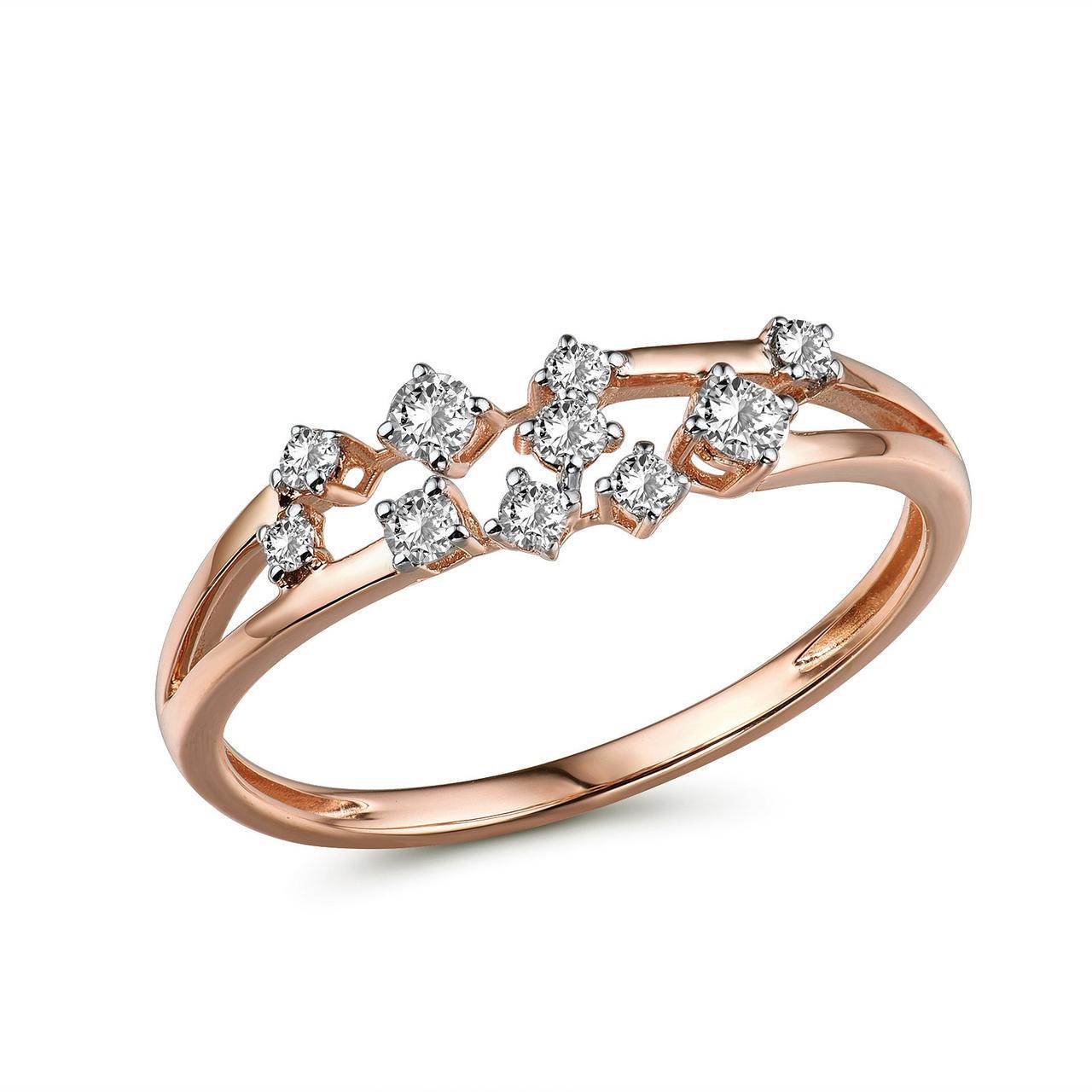 Золотое кольцо с бриллиантами, размер 17 (1719234)