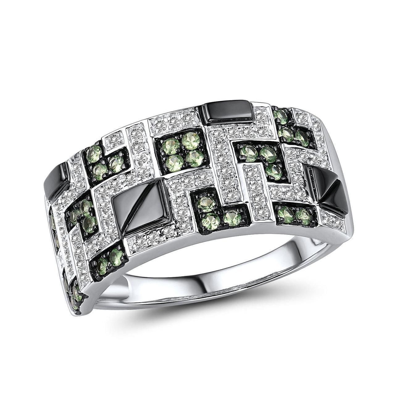 Золотое кольцо с бриллиантами и гранатами, размер 17 (1719065)