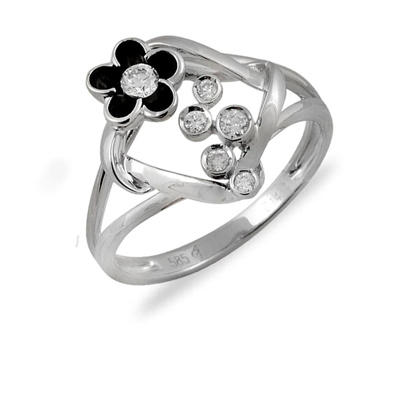Золотое кольцо с бриллиантами и эмалью, размер 16.5 (014542)