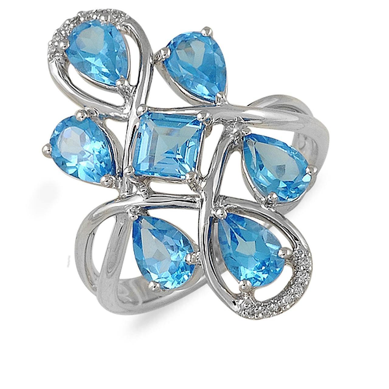 Золотое кольцо с бриллиантами и топазами, размер 16.5 (013874)