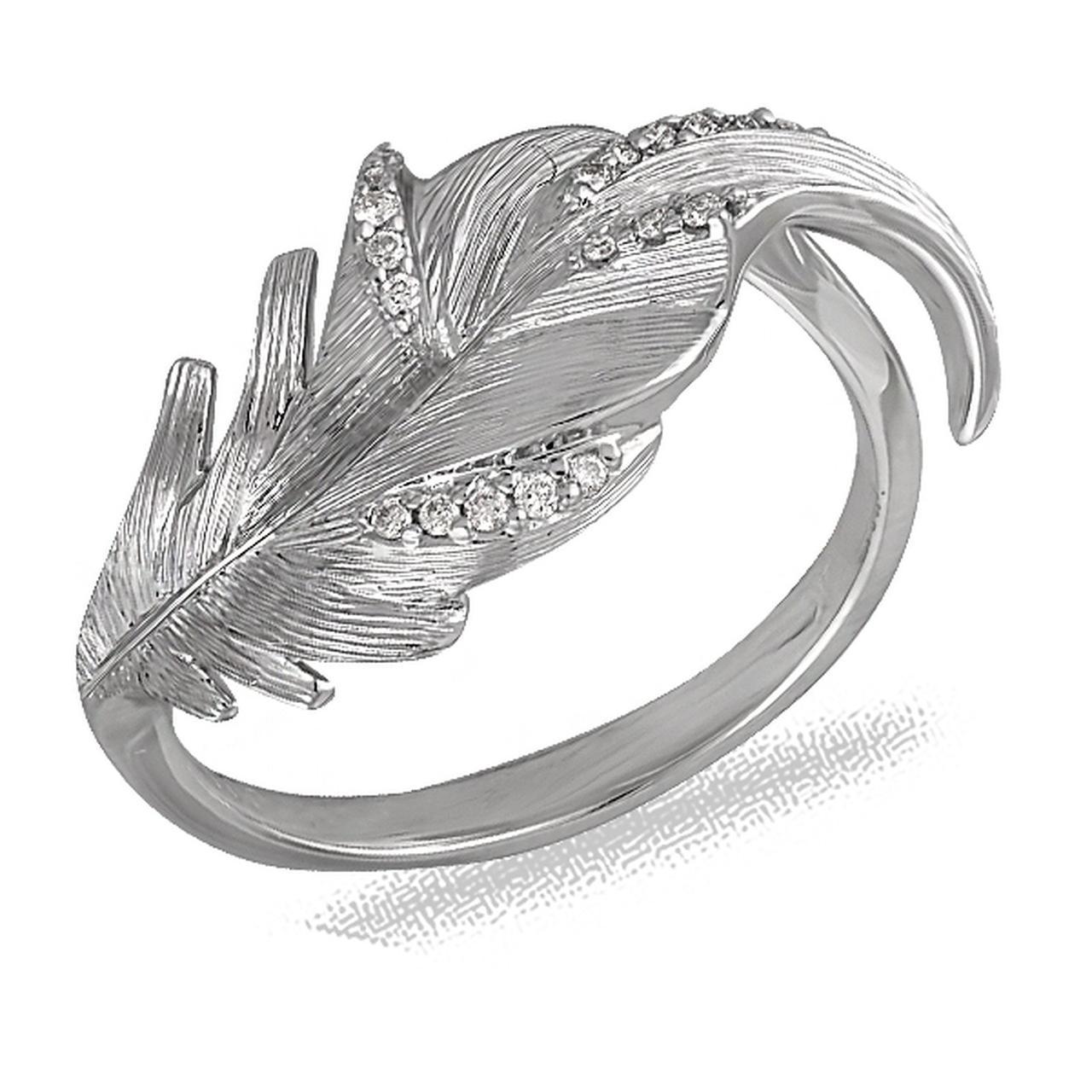 Золотое кольцо с бриллиантами, размер 16.5 (032175)
