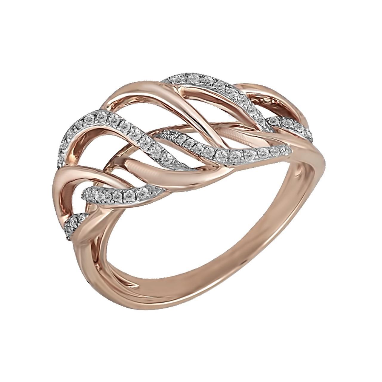 Золотое кольцо с бриллиантами, размер 16 (019243)