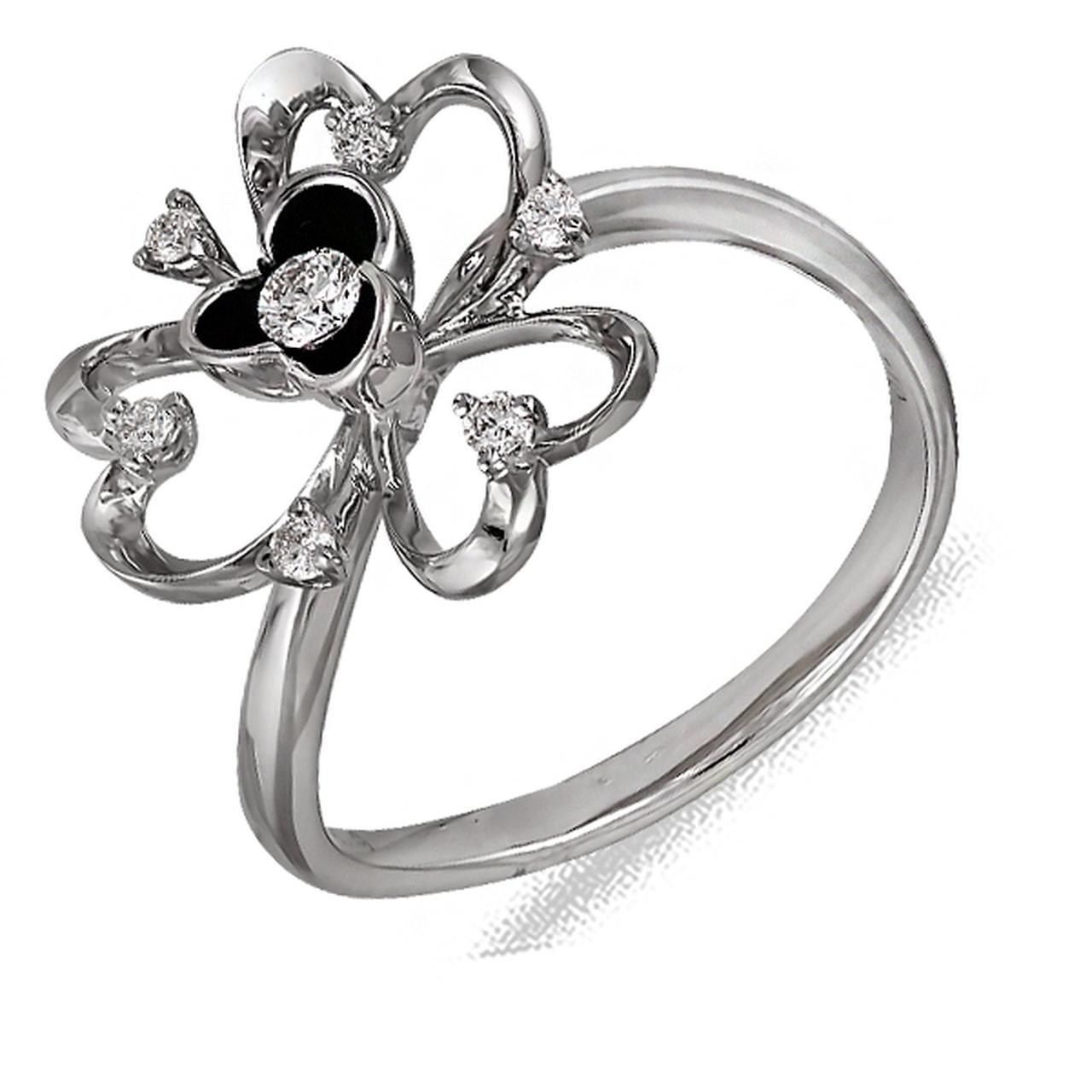Золотое кольцо с бриллиантами и эмалью, размер 16.5 (014535)