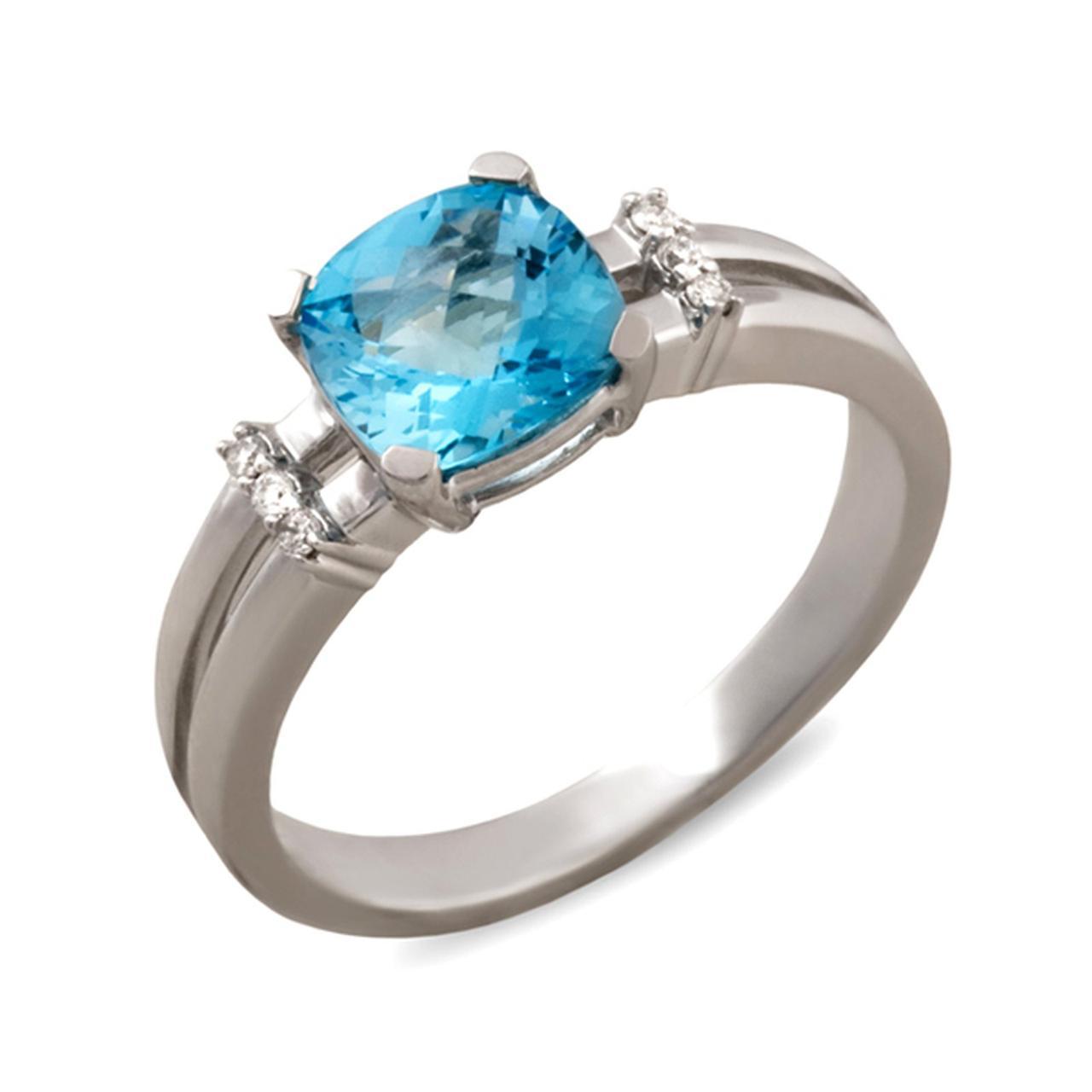 Золотое кольцо с бриллиантами и топазом, размер 17 (003752)