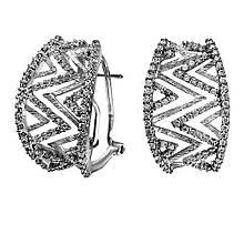 Сережки з білого золота з діамантами (000668)