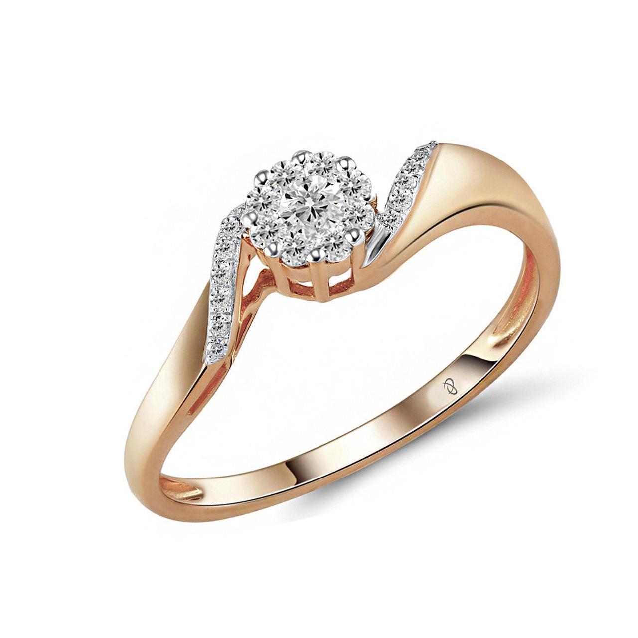 Золотое кольцо с бриллиантами, размер 16 (1551726)