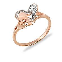 Золотое кольцо с бриллиантами, размер 15 (019230)