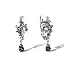 Сережки з білого золота з діамантами (1718877)