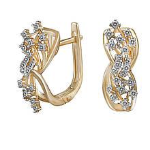 Сережки з жовтого золота з діамантами (689075)