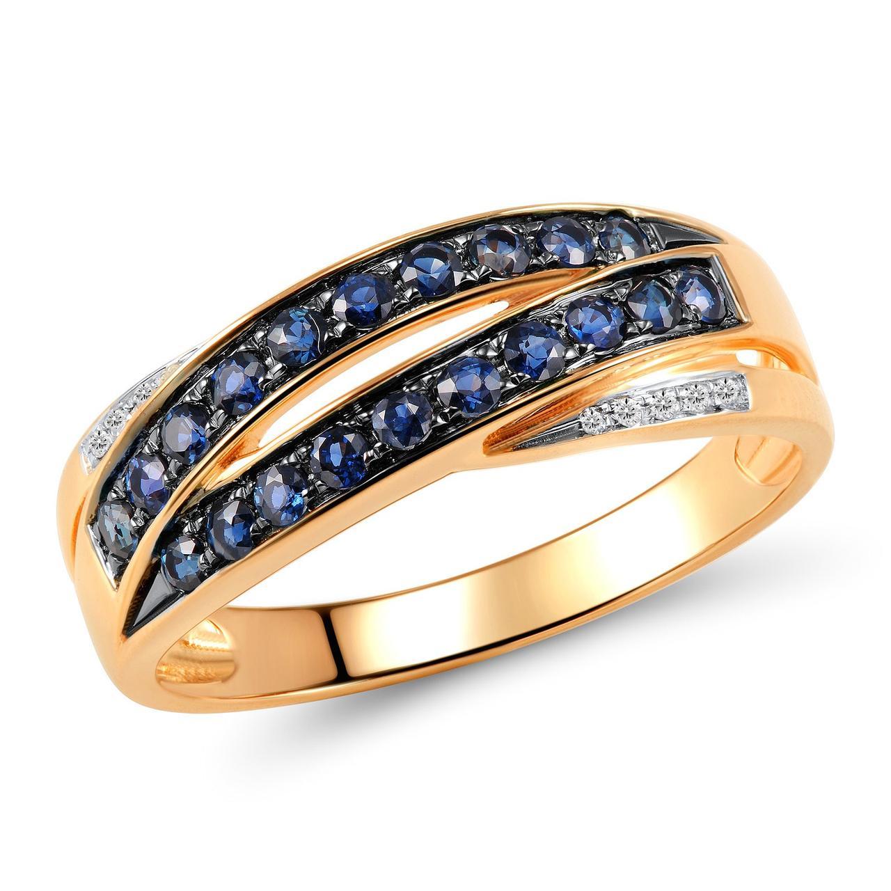 Золотое кольцо с бриллиантами и сапфирами, размер 15 (1551708)