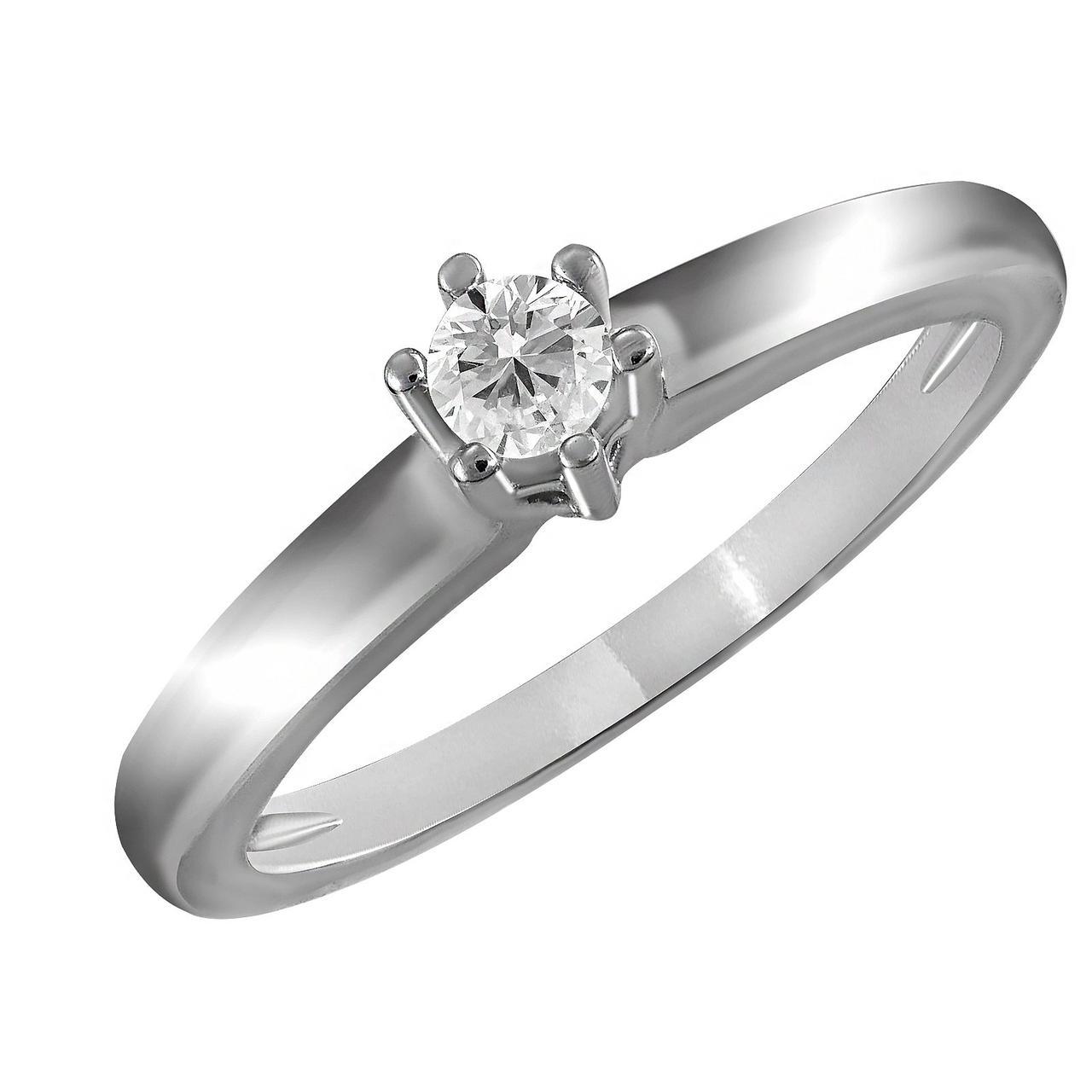 Золотое кольцо с бриллиантом, размер 17.5 (703110)