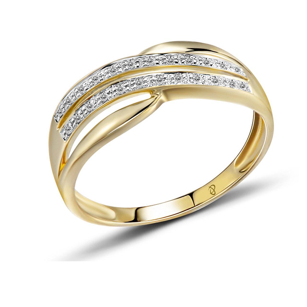Золотое кольцо с бриллиантами, размер 15.5 (1551736)