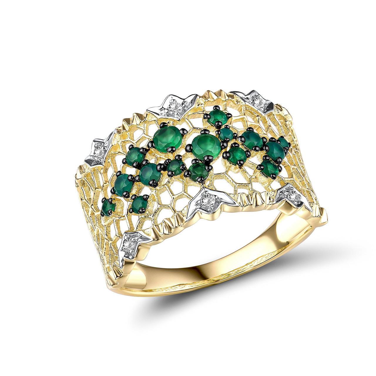 Золотое кольцо с агатами и сапфирами, размер 17 (1719110)
