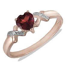 Золотое кольцо с бриллиантами и гранатом, размер 15.5 (201350)