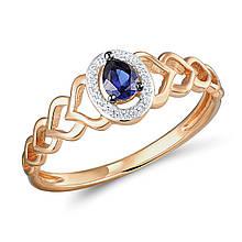 Золотое кольцо с бриллиантами и сапфиром, размер 16 (565109)
