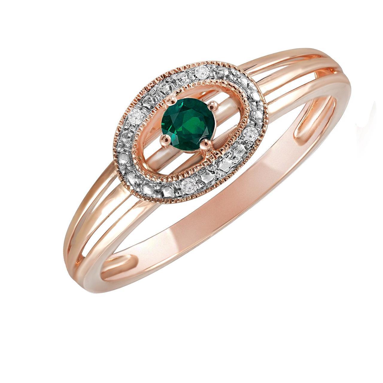 Золотое кольцо с бриллиантами и изумрудом, размер 16 (577915)