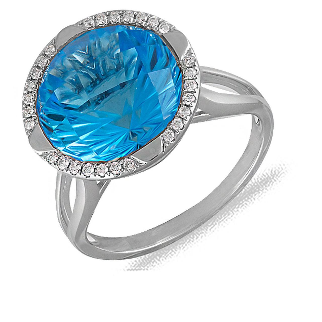 Золотое кольцо с бриллиантами и топазом, размер 17 (070434)