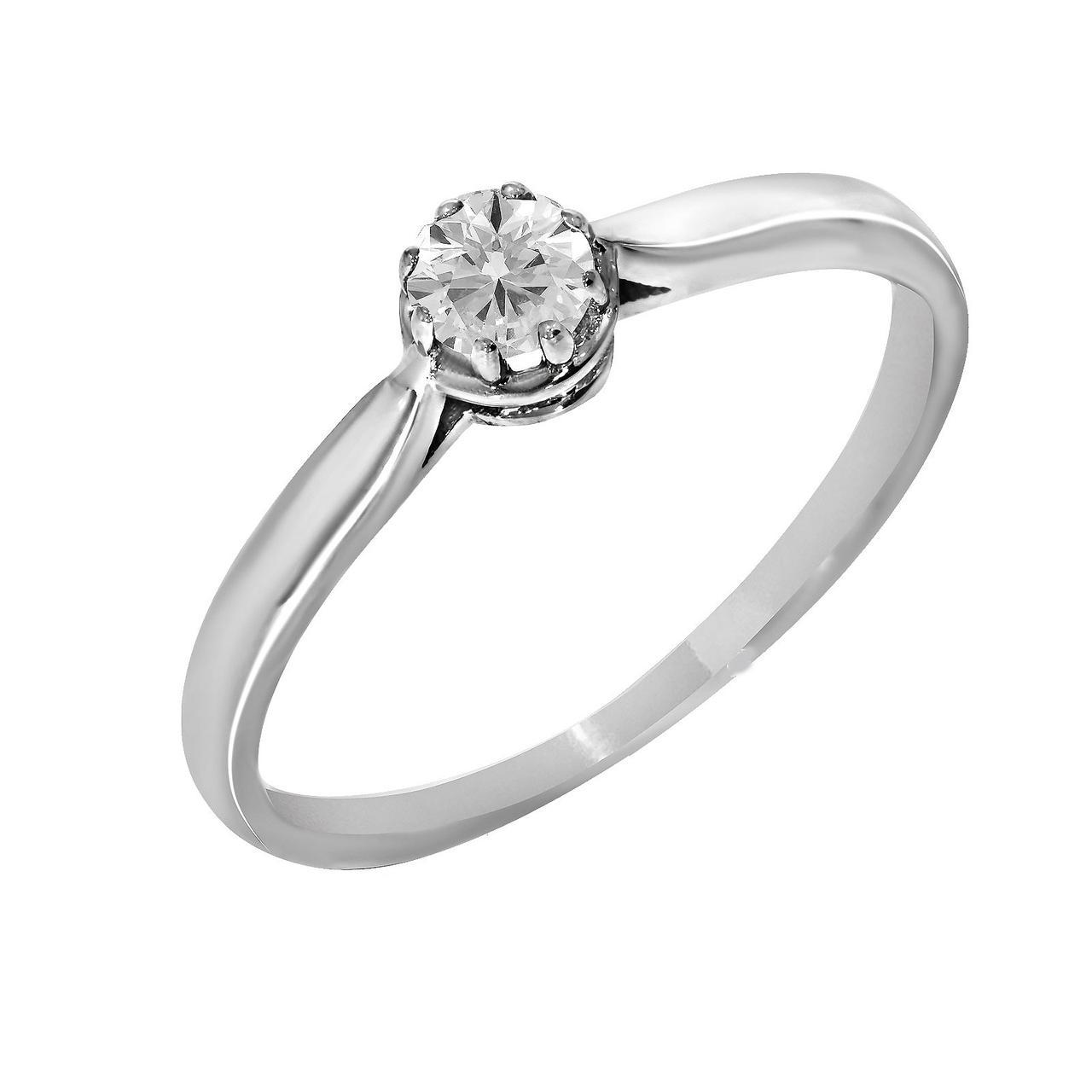 Золотое кольцо с бриллиантом, размер 17 (815861)