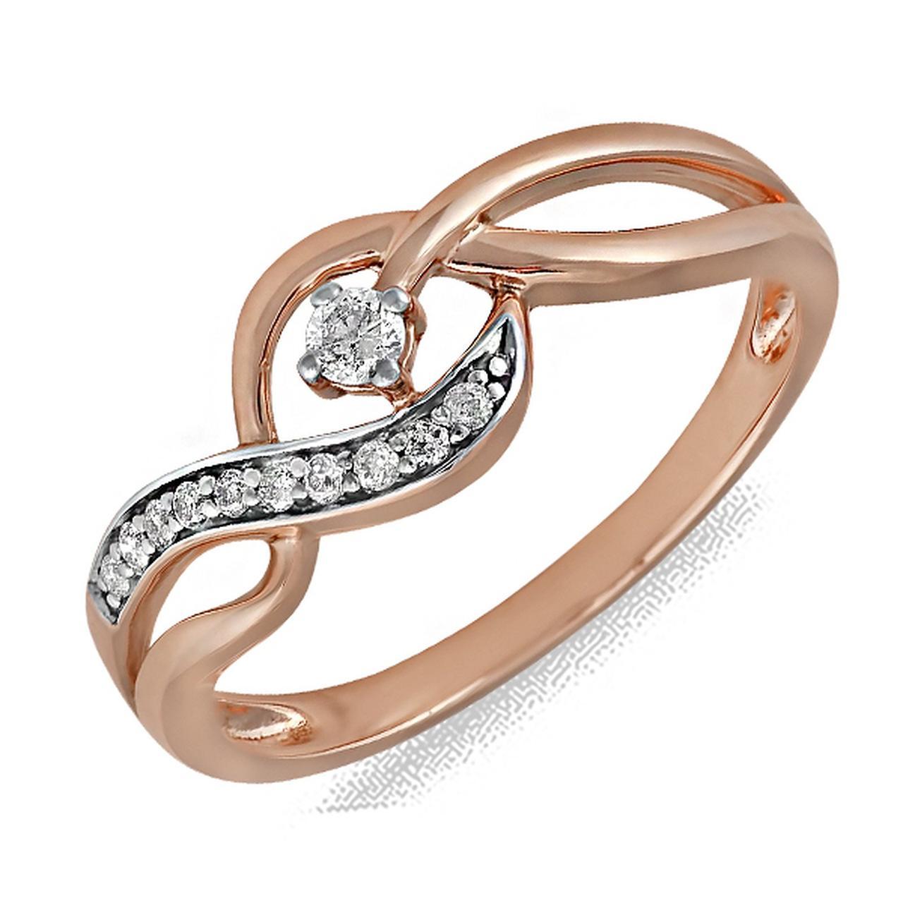 Золотое кольцо с бриллиантами, размер 17 (078706)