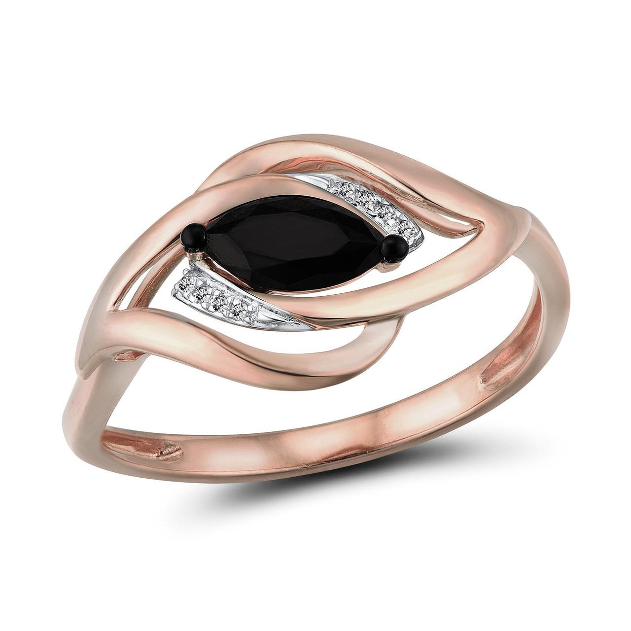 Золотое кольцо с бриллиантами и сапфиром, размер 15.5 (1692559)