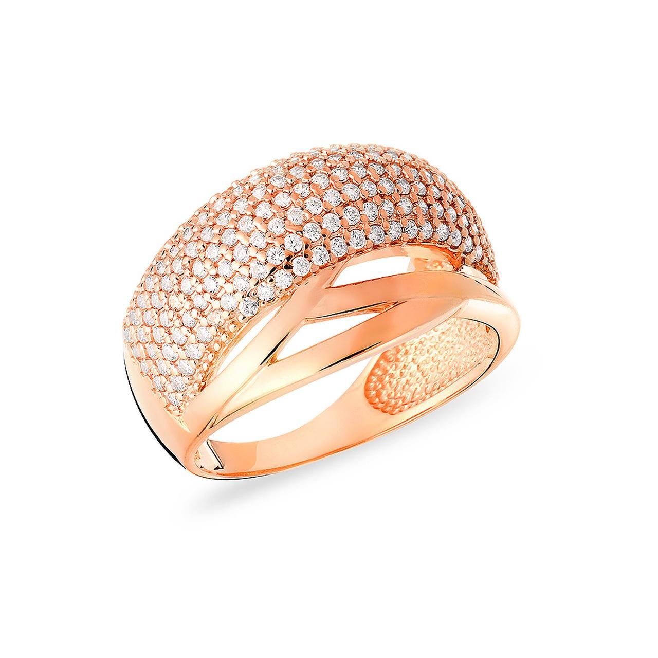 Золотое кольцо с куб. циркониями, размер 18.5 (171742)