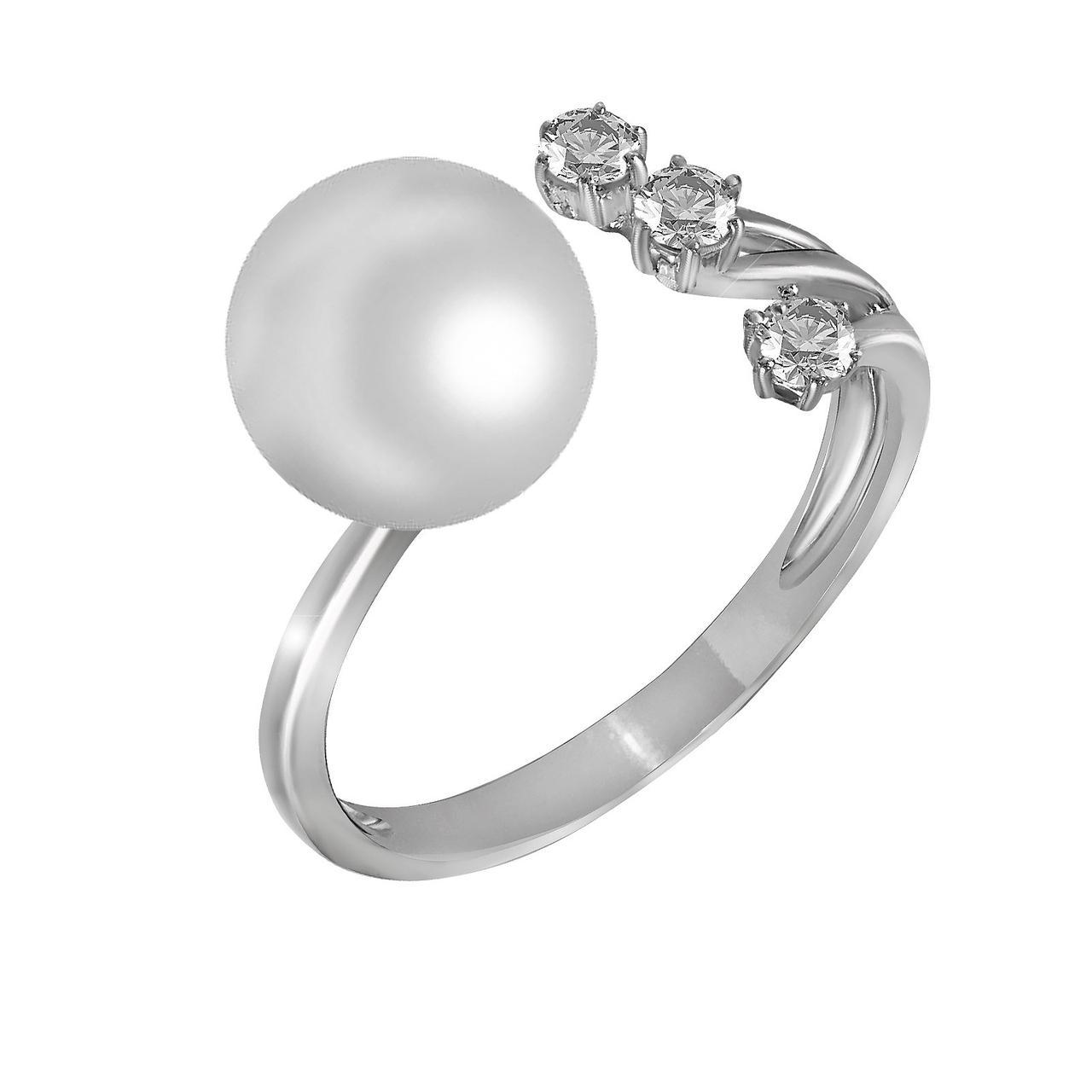 Золотое кольцо с бриллиантами и жемчугом (пресноводным), размер 16.5 (1527179)