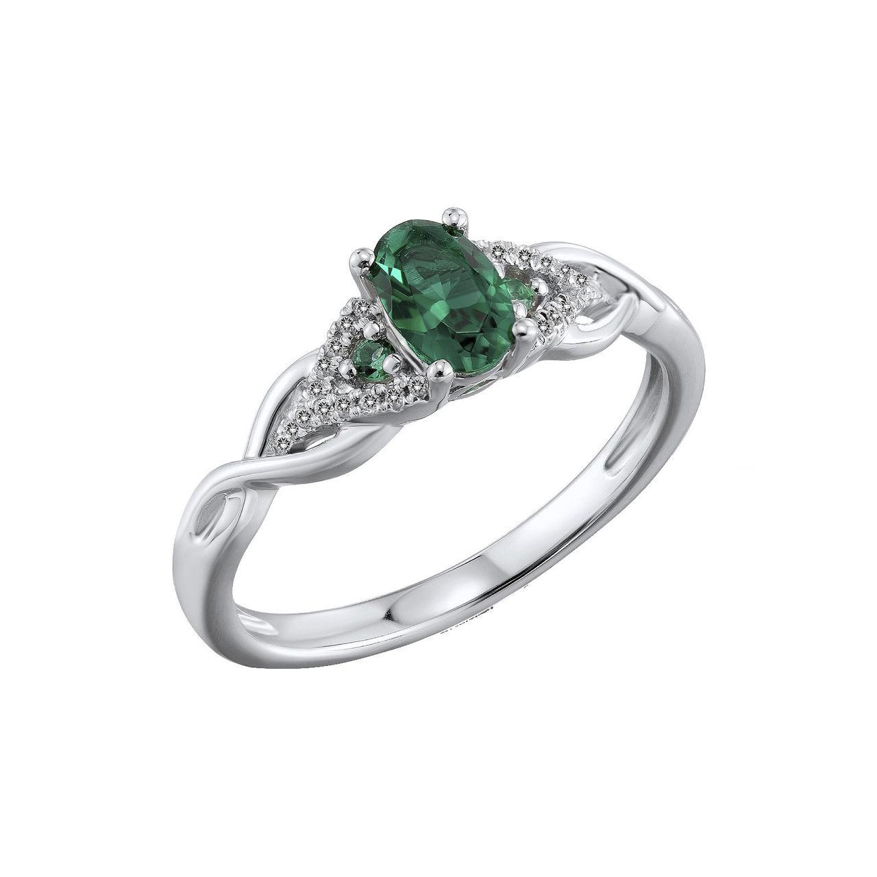 Золотое кольцо с бриллиантами и изумрудами, размер 16 (564877)
