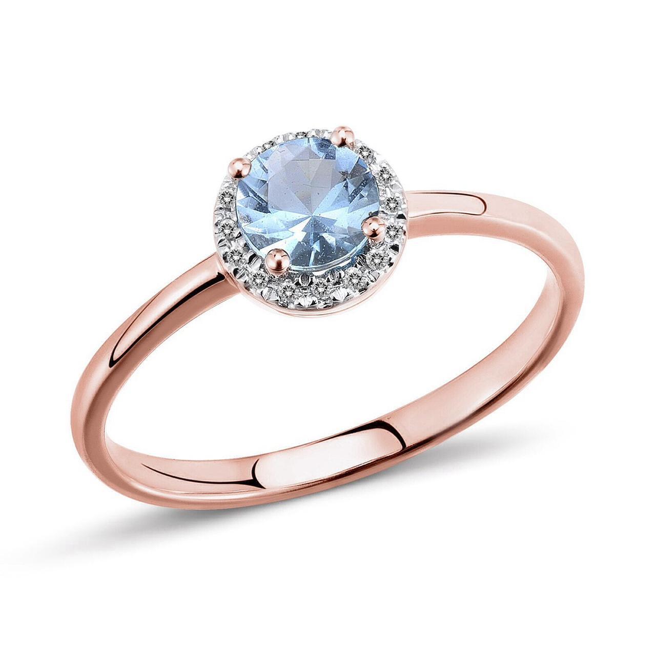 Золотое кольцо с бриллиантами и топазом, размер 15 (533069)