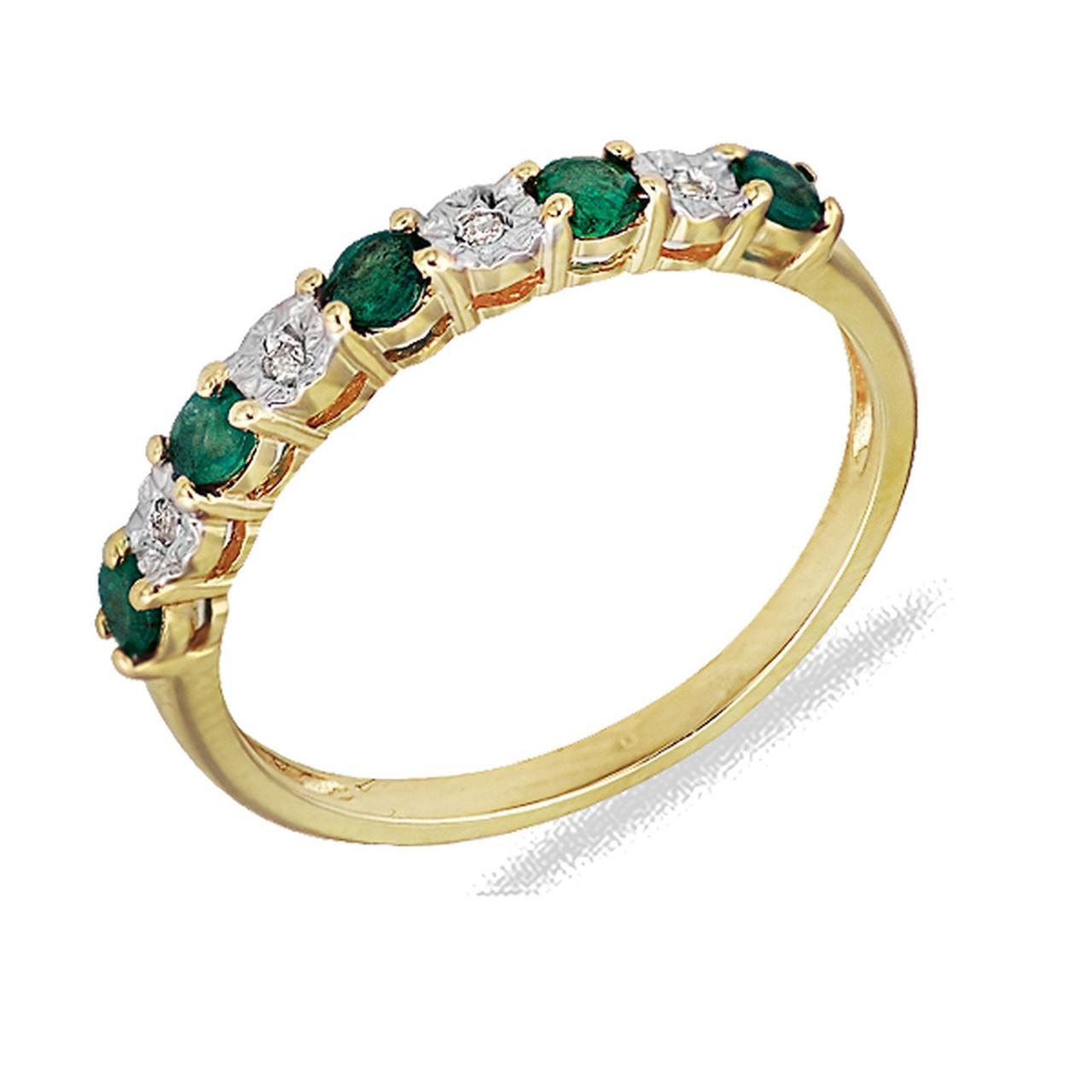 Золотое кольцо с бриллиантами и изумрудами, размер 16 (191569)