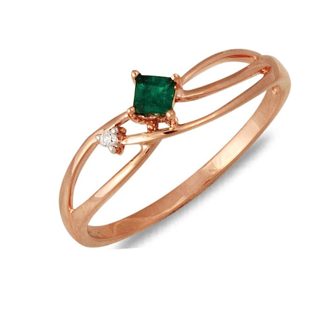 Золотое кольцо с бриллиантом и изумрудом, размер 16 (030172)