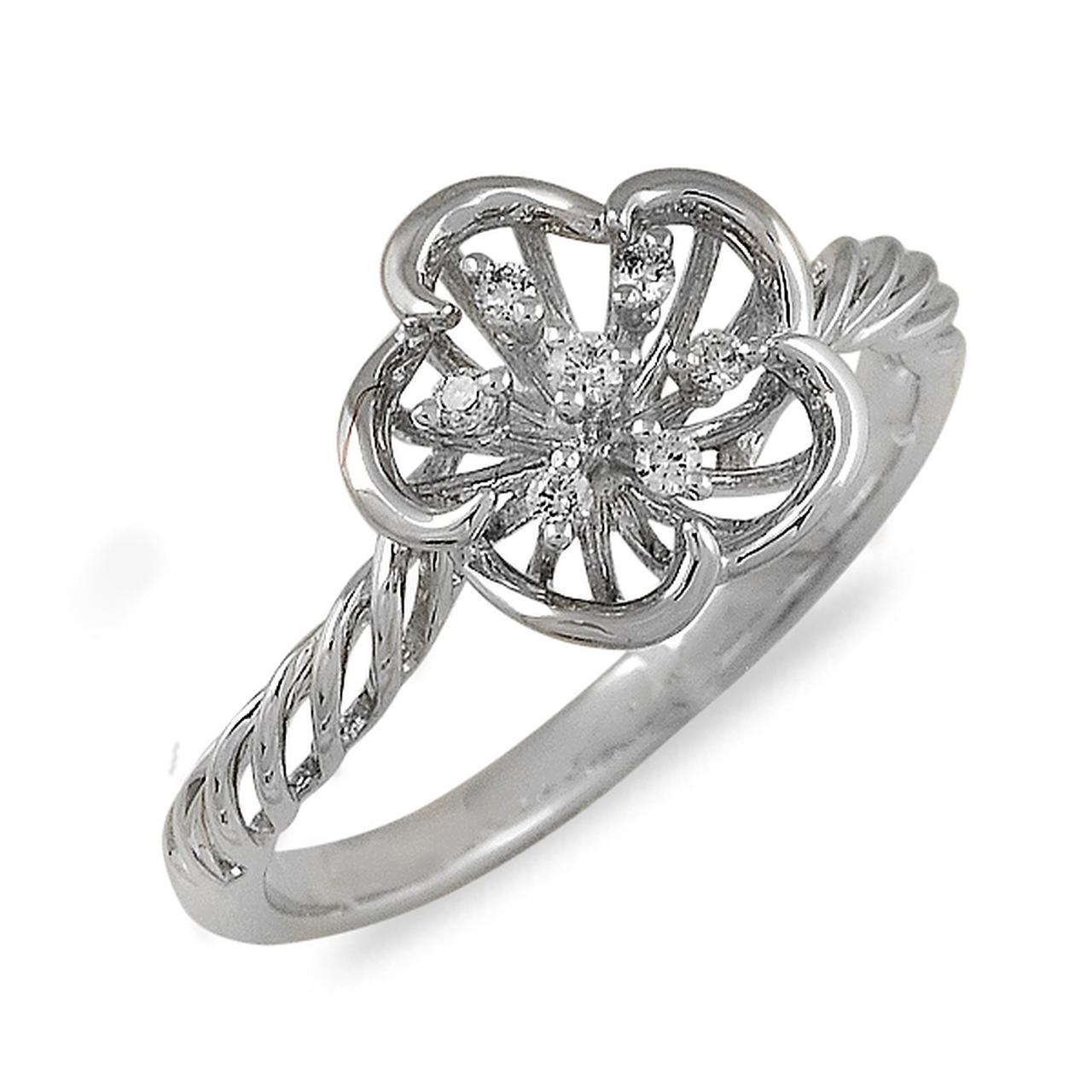 Золотое кольцо с бриллиантами, размер 16 (012982)