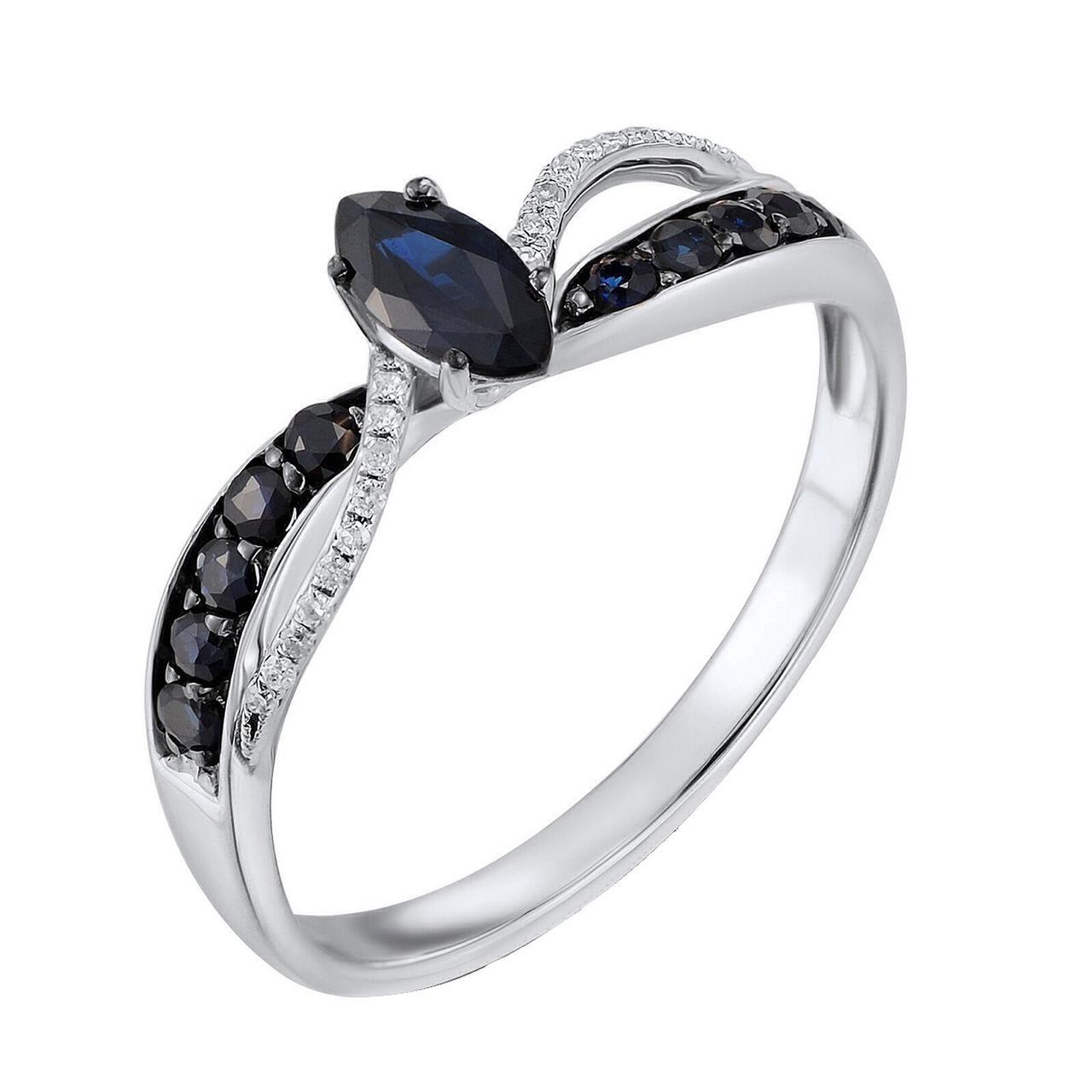 Золотое кольцо с бриллиантами и сапфирами, размер 17 (479163)
