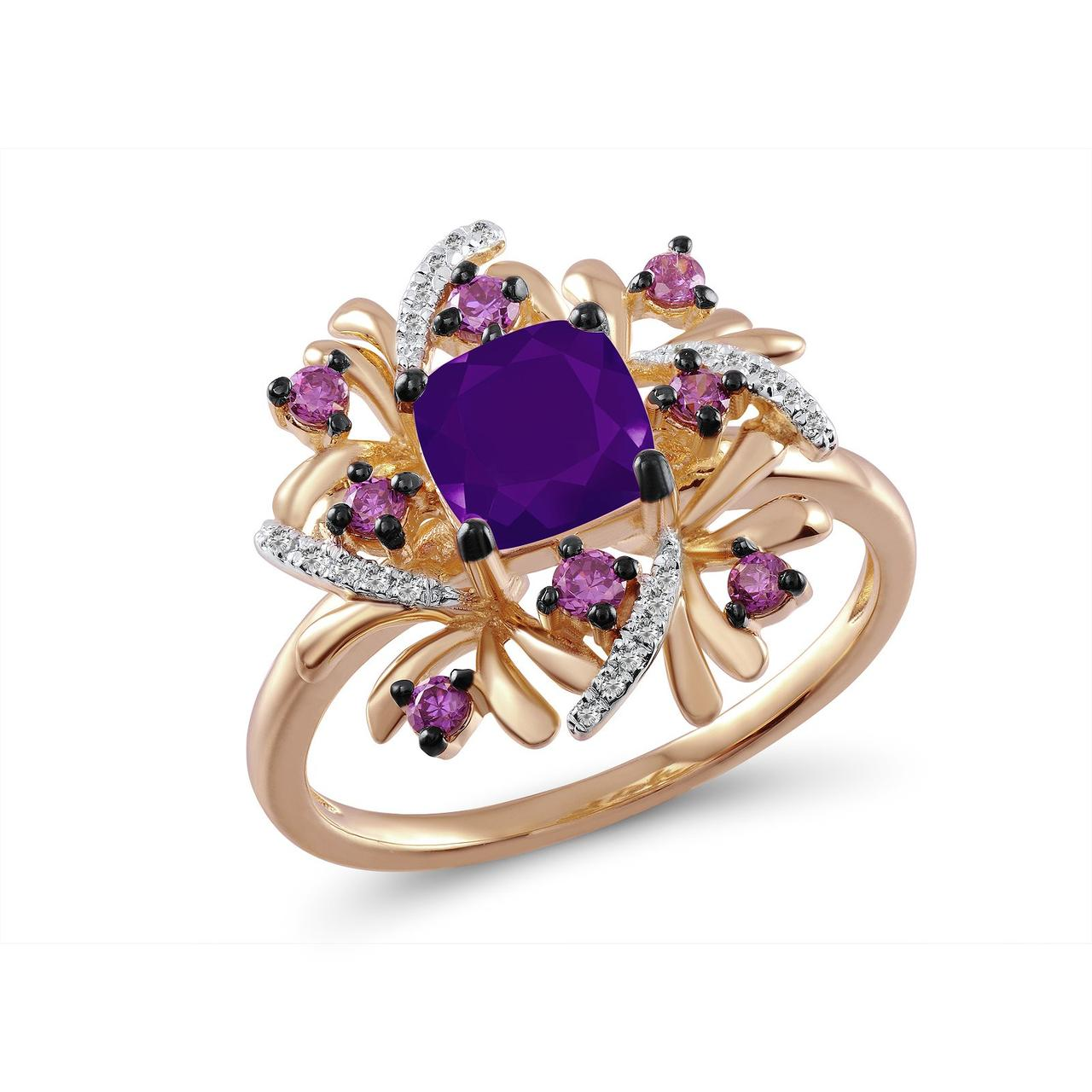 Золотое кольцо с аметистами и бриллиантами, размер 19 (269054)