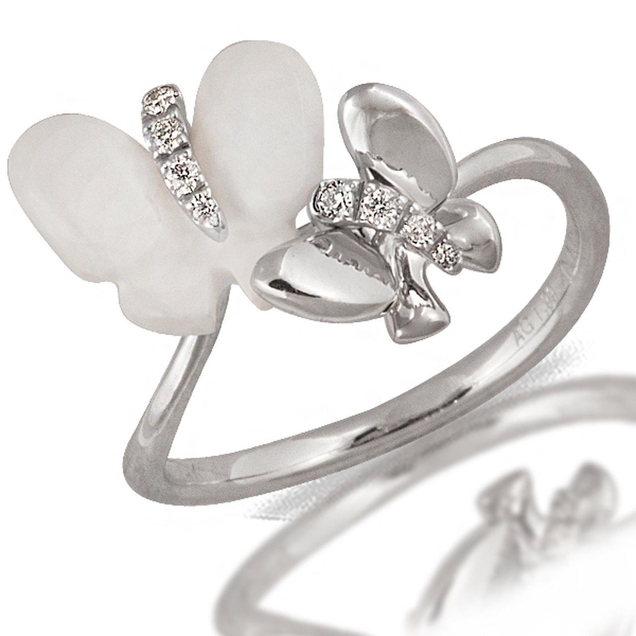 Золотое кольцо с агатом и бриллиантами, размер 16.5 (046765)